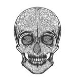 Human skull tribal style.Tattoo blackwork. Vector hand drawn illustration. Boho Stock Photo
