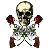 A human skull with two guns and two red roses Royalty Free Stock Photography