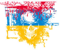 Human Skull With Ukrainian Flag Royalty Free Stock Photography
