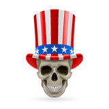 Human skull with Uncle Sam hat on Royalty Free Stock Photography