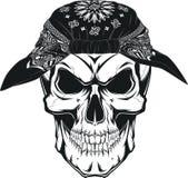 Human skull. Vector illustration, human skull in bandana on white background Royalty Free Stock Photo