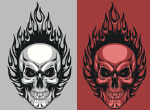 Human skull. Vector illustration of a human skull with flames Royalty Free Stock Photos
