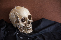 Human skull with vintage tone background. Human skull on black fabric and brown wooden board stock images