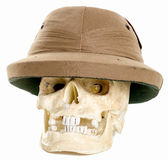 Human Skull Wearing a Pith Adventurer helmet stock images