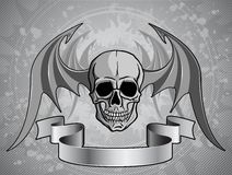 Human Skull with wings - vector Royalty Free Stock Photography