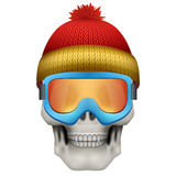 Human skull with winter hat and goggles Stock Photos