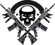 Free Human Skull With Crossed Assault Rifles And Banner Royalty Free Stock Images - 160977379