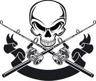 Free Human Skull With Crossing Fishing Rod And Reel Stock Photography - 160978502