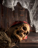 Human skull on the wooden floor Royalty Free Stock Images