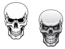 Human skulls. In color and monochrome versions for tattoo design Royalty Free Stock Photo