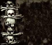 Human skulls and bones. Grunge background with human skulls and bones Royalty Free Stock Photos