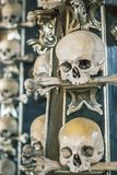 Human skulls and bones in a church in Kutna Hora. Sedlec Ossuary Czech: Kostnice in Sedci.  royalty free stock image