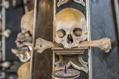 Human skulls and bones in a church in Kutna Hora. Sedlec Ossuary Czech: Kostnice in Sedci.  stock images