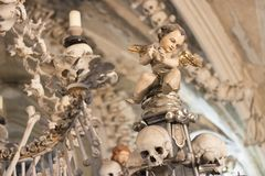 Human skulls and bones in a church in Kutna Hora. Sedlec Ossuary Czech: Kostnice in Sedci.  royalty free stock photo