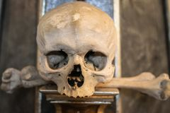 Human skulls and bones in a church in Kutna Hora. Sedlec Ossuary Czech: Kostnice in Sedci.  royalty free stock photography
