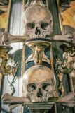Human skulls and bones in a church in Kutna Hora. Sedlec Ossuary Czech: Kostnice in Sedci.  stock photography