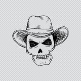 Human skulls with cowboy hat. Stock Photo