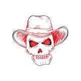 Human skulls with cowboy hat. Stock Photos