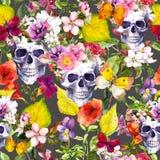 Human skulls, flowers, autumn leaves. Seamless pattern. Watercolor stock illustration