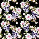 Human skulls, flowers at black background. Seamless pattern. Watercolor Royalty Free Stock Images