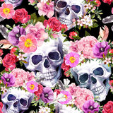 Human skulls, flowers. Seamless pattern. Watercolor. Human skulls with flowers. Seamless pattern on black background. Watercolor stock illustration