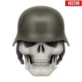 Human skulls with German Army helmet Stock Photography