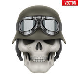 Human skulls with German Army helmet Royalty Free Stock Photo