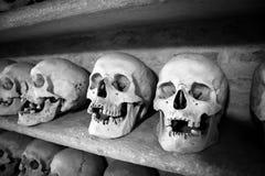 Human skulls inside a catacomb Stock Photos