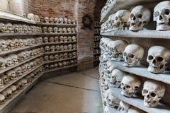 Human skulls inside a catacomb. Stock Photos