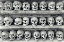 Human skulls inside a catacomb. Stock Photo