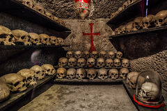 Human skulls in ossuary at Inkerman monastery Royalty Free Stock Images