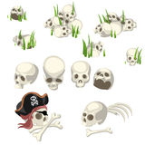 Human skulls and pirate symbols, cartoon style Stock Photo