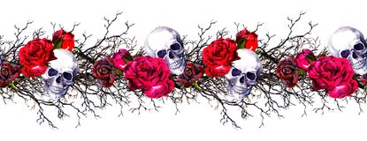 Human skulls with rose flowers, branches. Seamless border frame. Watercolor Stock Image