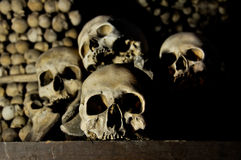 Human Skulls. In Sedlec Ossuary, Czech Republic Royalty Free Stock Photos