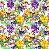 Human skulls, tropical leaves, jungle animals, exotic flowers. Repeating pattern. Watercolor stock illustration