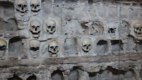 Human skulls wall. Nisch,Serbia;7/9/2015.Monument from the First Serbian Uprising 1809. which was in retaliation by the Turkish authorities in Serbia built from stock footage
