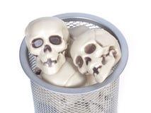 Human skulls in a wastebasket Stock Image