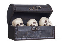 Human skulls in a wooden chest Stock Photos