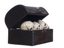 Human skulls in a wooden chest Stock Image