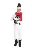 Human snowman with dog royalty free stock photos