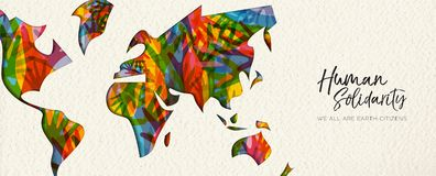 Human Solidarity Day diverse world map hand banner stock illustration