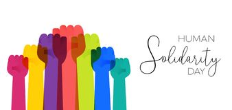 Human Solidarity Day illustration colorful hands stock illustration