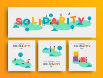 Human Solidarity Day people community at park set. International Human Solidarity Day card set for equality and community help concept. Diverse people doing fun stock illustration