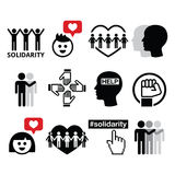 Human Solidarity icons, people helping each other design Stock Images