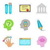 Human soul icons set, cartoon style. Human soul icons set. Cartoon set of 9 human soul vector icons for web isolated on white background Stock Photography