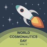 World Cosmonautics Day, 12 April. Human space flight in universe conceptual illustration Royalty Free Stock Image