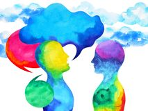 Human speaking and listening power of mastermind together inside your mind, watercolor painting hand drawn. Human speaking and listening power of mastermind vector illustration