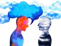 Human speaking and listening power of mastermind together inside your mind, watercolor painting hand drawn. Human speaking and listening power of mastermind stock illustration