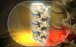 Human spine. Digital illustration of human spine in colour background Royalty Free Stock Photo