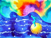 Human and spirit colorful powerful energy connect to the universe. Power abstract art watercolor painting illustration design hand drawn Stock Photos